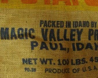 Vintage Burlap Bag Feed Sack Magic Valley Great Magical Decor
