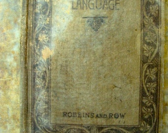 100 years old Beautiful Old tattered Antique Word Primer 1917 Language