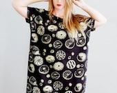 Golden Donut    Big Tee tunic tshirt dress, printed tunic, metallic gold, dress, oversized tshrit, American milled fabric    by Simka Sol®