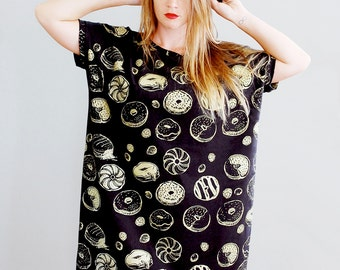 The Golden Donut - Big Tee tunic dress - hand printed tshirt dress - American Milled Fabric - by Simka Sol®