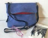 Crossbody bags, Boho Faux Suede Bag in Blue Lavender, Bohemian Handbag, 70's Inspired