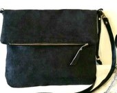 Vegan Crossbody Bags, Black Faux Suede Handbags, Clutch Bag 70's Inspired