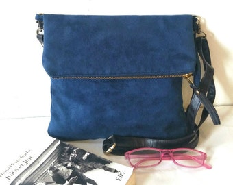 Vegan Crossbody Bag in Blue Faux Suede, Vegan Suede Bag, Foldover Crossbody Bag