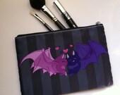 Kissing Bats - Purple Bat Couple on Dark Gray Cosmetic Bag