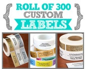 Roll of 300 Custom Labels - 2 x 3/4 inches - Perfect for Address, Branding, Packaging, Party, Wedding Favors