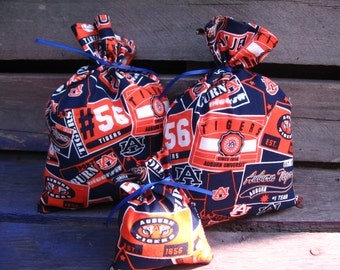 Auburn University Collegiate Football Set Of 3 Orange & Blue Modern Chic Travel Favor Treat Gift Bags