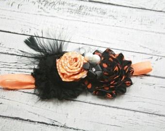 Orange black Halloween headband- rose rosette