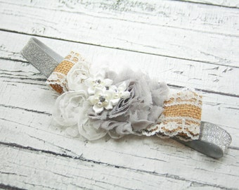 Silver sparkle burlap lace white gray flower headband