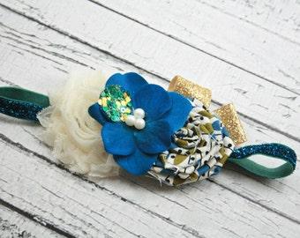 Blue gold cream ivory sparkle headband