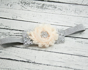 Light peach silver sparkle glitter bling headband