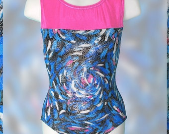 Gymnastics Girls Leotard Child 4 6 8 10 or 12 metallic hot pink holographic black blue swirl leo NEW kids tank leotard