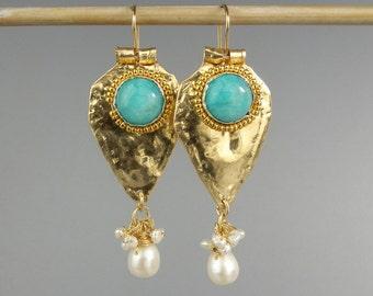 Dangle Gemstone Earrings, Turquoise Earrings, Gold Filled Earrings, Amazonite Bezel Sets, Turquoise Amazonite, Gemstone Earrings, Turquoise