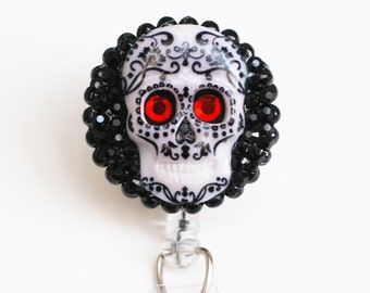 Day Of The Dead ID Badge Reel - Retractable ID Badge Holder - Zipperedheart