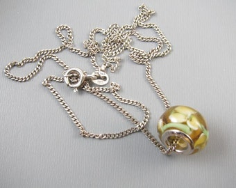 Modern sterling silver Italy lamp work art glass bead pendant necklace