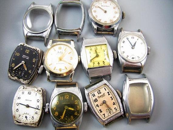 FOR PARTS Antique vintage Art Deco MENS wrist watch supply destash steampunk assemblage Westclox Wrist Ben Ingersoll Aero Waterbury Artco