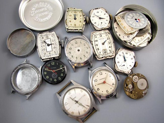 FOR PARTS MENS vintage wrist watch parts supply destash steampunk assemblage repurpose craft supply jewelry watch repair movements
