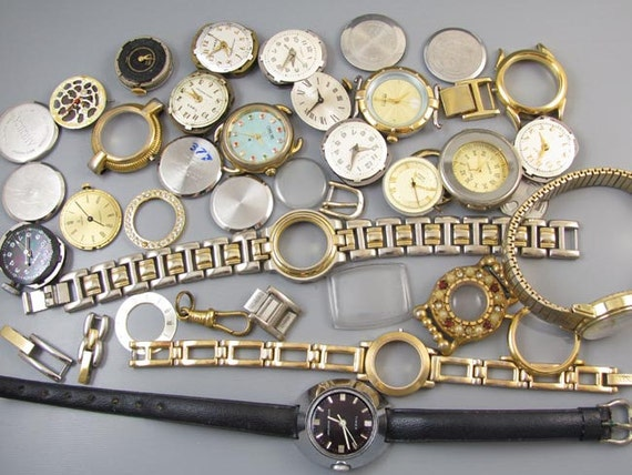FOR PARTS large lot womens ladies vintage wrist watch cases for parts supply destash steampunk assemblage repurpose craft supply jewelry