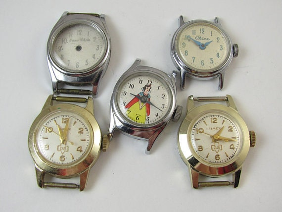 FOR PARTS Vintage character wrist watch parts Snow White Alice in Wonderland Girl Scouts steampunk destash assemblange repair