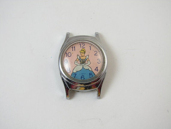 FOR PARTS Vintage Cinderella Walt Disney Productions US Time character wrist watch parts 1950s steampunk destash assemblage repair