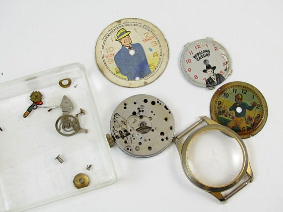 FOR PARTS Vintage boys destash steampunk jewelry watch supply rare Dick Tracy Hopalong Cassidy Football character wrist watch assemblage