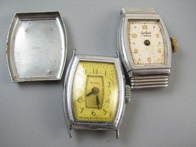 FOR PARTS Antique vintage Art Deco MENS wrist watch supply destash steampunk assemblage Kelton Ingersoll Radiolite New Haven Guilford