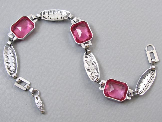 Vintage Art Deco 10k white and multi color lab created synthetic pink spinel stone filigree bracelet