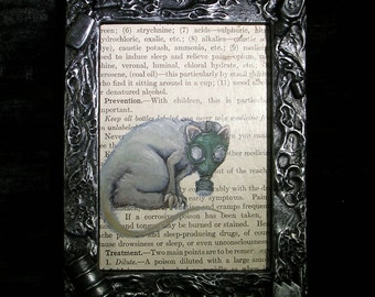 Common Contaminants original framed painting possum in a gasmask house hold poisons