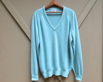 80s vintage Christian Dior Pastel Blue Acrylic Knit V-Neck Sweater