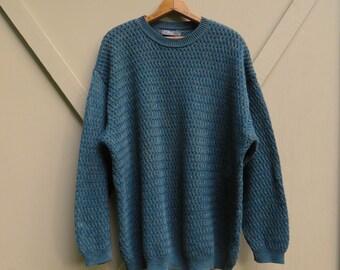 vintage Forest Green Variegated Knit Basket Weave Cotton Sweater /L'Etienne pour Homme
