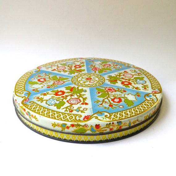 vintage Shallow Floral Asian Inspired Decorative Tin Container / Storage Container / Home Decor