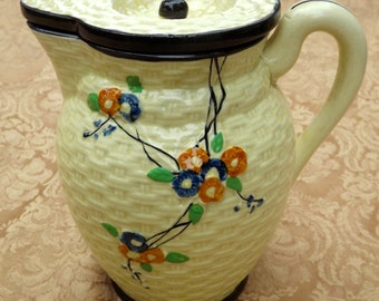 Majolica Hotta Yu Shoten Cherry Blossom Basket Weave Pitcher with Lid  1940s Arts and Crafts Hand Painted