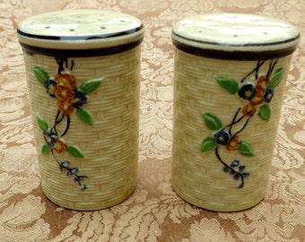 Majolica Hotta Yu Shoten Cherry Blossom Basket Weave Salt and Pepper Shakers 1940s Hand Painted