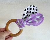 Purple Fox - Organic Baby Teether - Teething Ring - Natural Wooden Ring - Organic Fabric - Eco-friendly Wood Toy