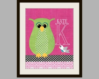 OWL Art Print, Nursery Art Print,  Children's Wall Art, TWINS , Kids Room Decor, 8x10,  Personalized by LeftHandedStudio