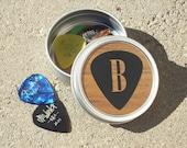 Guitar Pick Tin - gift for guitarist or musician - Guitar Pick Holder - Metal Tin Personalized Initial Letter monogram - guitar pick holder