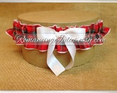 Classic Tartan Skirted Satin Bridal Garter....Custom Colors Available..shown with white accent