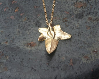 Leaf Gold Dipped Plated Real Leaf Charm Necklace with 14 K Gold Filled Thin Chain