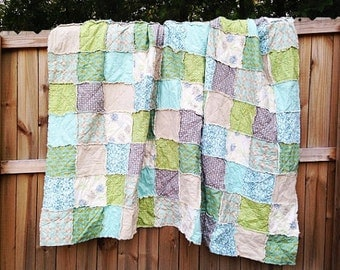 Quilt, Rag Quilt, YOU CHOOSE SIZE, Breathless fabrics, Aqua Green and Tans, comfy cozy handmade bedding, king queen full twin shams