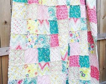 King Quilt, Full Quilt, Rag Quilt, YOU CHOOSE SIZE, Rapture fabrics, pink yellow and aqua, comfy cozy handmade bedding,  shams