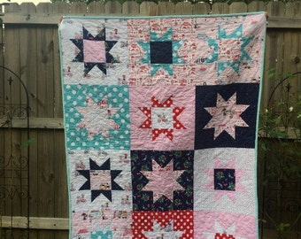 Baby Quilt, Star Patch Quilt, crib or toddler quilt, Vintage Market fabrics, pink navy turquoise and red, comfy cozy handmade bedding, girls