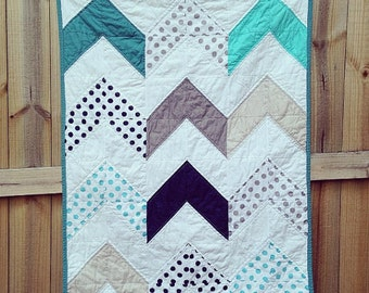 Baby quilt, Follow Your Arrow Quilt, crib or toddler YOU CHOOSE fabrics, comfy cozy handmade bedding,