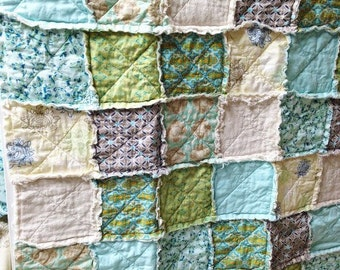 Crib or Toddler, Rag Quilt, YOU CHOOSE SIZE,  Breathless fabrics, Aqua Green and Tans, comfy cozy handmade baby, boys