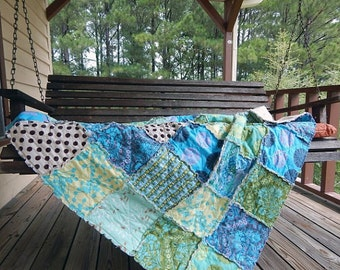 Crib or Toddler, Rag Quilt, YOU CHOOSE SIZE,  Joie de Vivre fabrics, Blue and Green, comfy cozy handmade baby, boys