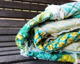 Crib or Toddler, Rag Quilt, YOU CHOOSE SIZE,  Notting Hill Teal fabrics, Teal Green and yellow, comfy cozy handmade baby, boys