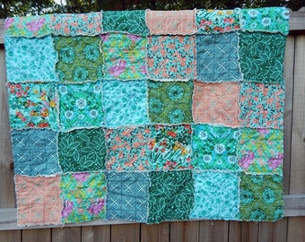 Baby Quilt Girl, Crib or Toddler, Rag Quilt, YOU CHOOSE SIZE, Violette fabrics, Aqua Orange and Green, comfy cozy handmade baby