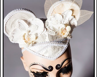 SALE 15% OFF Softness…. Mouse Ears in White and Cream Headdress