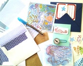 Stationery Set, Ocean theme, letters, note cards, stickers, original design