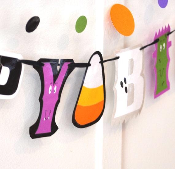 HAPpY BiRTHDAY Banner - Candy Corn, Ghost, Monster, Vampire, Jack o Lantern, Spider Web