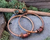 Bohemian Jewelry, Bohemian Earrings, Copper Hoops