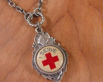 Upcycled Jewelry - Nursing Necklace - Authentic American Red Cross Pinback Antique Silver Medallion Necklace